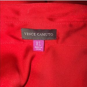 Vince Camuto Tops - Vince Camuto Tie Front Silky Red Top Collar Button